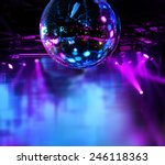 Stock photo colorful disco mirror ball lights night club background 246118363