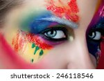 shot close up eyes with... | Shutterstock . vector #246118546