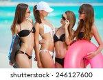 beautiful women in bikini at...   Shutterstock . vector #246127600