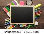 school supplies and blackboard... | Shutterstock . vector #246134188