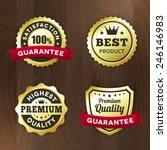 set business gold label on wood ...   Shutterstock .eps vector #246146983