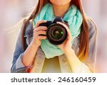 young photographer taking... | Shutterstock . vector #246160459