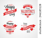 Happy Valentines Day Lettering Card. Typographic Background With Ornaments, Hearts, Ribbon and Arrow | Shutterstock vector #246185128