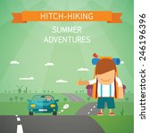hitchhiking bitmap concept with ... | Shutterstock . vector #246196396