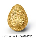 Gold Egg Isolated On A White....