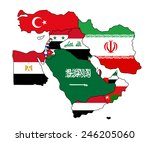 flag map of the middle east.... | Shutterstock .eps vector #246205060