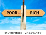 Small photo of Wooden signpost with two opposite arrows over clear blue sky, Poor versus Rich messages
