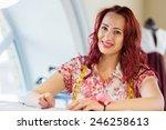 pretty dressmaker at work... | Shutterstock . vector #246258613