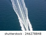 Speed Boats Trace On The Blue...