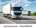 white truck on road. cargo... | Shutterstock . vector #246288826