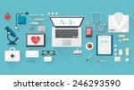doctor's desktop with medical... | Shutterstock .eps vector #246293590