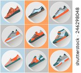 fashion trainers icons set....   Shutterstock .eps vector #246298048