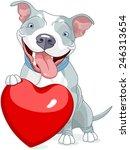 illustration of cute pit bull... | Shutterstock .eps vector #246313654