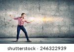 young man in casual throwing... | Shutterstock . vector #246322939