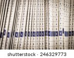 Close Up Rows Of Files In A...