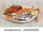 spiny lobster  crab and oyster... | Shutterstock . vector #246350290