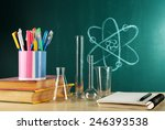desk in chemistry class with