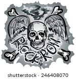 hand draw scull with bones  | Shutterstock .eps vector #246408070