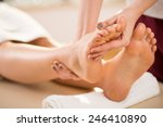 close up of young woman's foot... | Shutterstock . vector #246410890