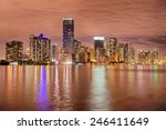 Miami Bayfront Skyline At Nigh...