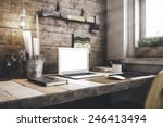 stylish workspace with computer ... | Shutterstock . vector #246413494