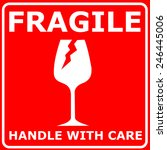 red sign fragile | Shutterstock . vector #246445006