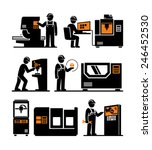 Industrial machine worker operator vector icons  - stock vector