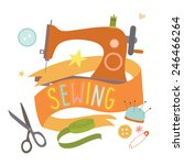 emblem design with sewing... | Shutterstock . vector #246466264