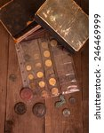 vintage books and coins on old... | Shutterstock . vector #246469999