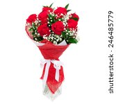 Bouquet Of Bright Red Roses In...