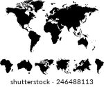 world map 6 continents vector... | Shutterstock .eps vector #246488113