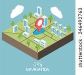 gps isometric. isometric town... | Shutterstock .eps vector #246492763