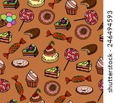 seamless background with sweets ... | Shutterstock .eps vector #246494593