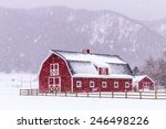 Bright Red Barn Covered With...