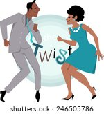 black couple  dressed in late...   Shutterstock .eps vector #246505786