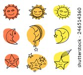 cute and funny sun  moon and... | Shutterstock .eps vector #246514360