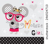 cute mouse girl with glasses... | Shutterstock .eps vector #246524713