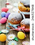 easter cakes in the plate on a... | Shutterstock . vector #246527848