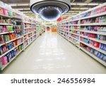 Cctv And Blurred Supermarket...