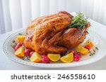 christmas turkey on the big... | Shutterstock . vector #246558610