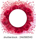 blank romantic frame with roses ... | Shutterstock .eps vector #246580543