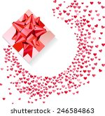 box with red bow and confetti... | Shutterstock .eps vector #246584863