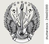 vector winged guitar emblem   Shutterstock .eps vector #246601000