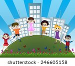 jumping children with the... | Shutterstock . vector #246605158