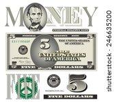 miscellaneous five dollar bill... | Shutterstock .eps vector #246635200