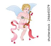 angel cupid shoots from a bow... | Shutterstock .eps vector #246645379