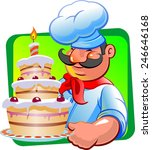 cook and cake with whipped cream | Shutterstock .eps vector #246646168