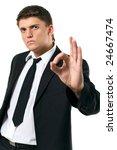 businessman showing ok sign on... | Shutterstock . vector #24667474