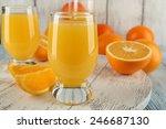 glass of orange juice with... | Shutterstock . vector #246687130