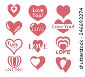 heart icon. set of valentines... | Shutterstock .eps vector #246693274